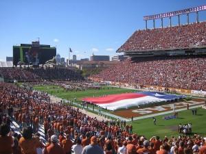A drone flew over the football stadium at the University of Texas during the team's home opener (Photo credit: Wikipedia)